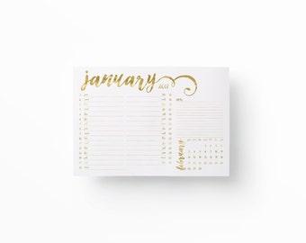 2017 Printable Desk planner, Wall planner, A3 Calendar, Gold Calendar, Minimal calendar, Instant download, Printable wall planner