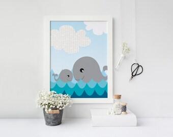 Nursery art - Whale and her baby - Nursery Printable - Nursery wall art - Gender neutral nursery art - Nursery decor - Digital download