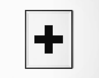 Swiss cross, Printable poster, Four sizes, Plus sign, Printable art, Scandinavian, Modern art, Minimal art
