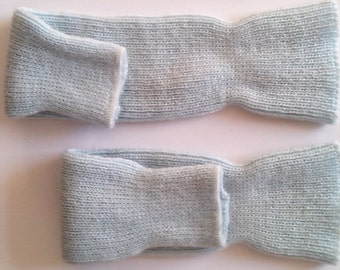 Children's Dancewear Pale Blue Knitted Leg Warmers  1987 Vintage