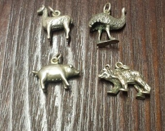 4 Sterling Silver Vintage Animal Charms