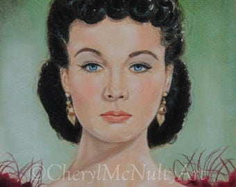 Scarlett O'Hara Vivien Leigh Gone With The Wind Print of Pastel Portrait Painting Celebrities Icons Classic Movie Stars Wall Decor