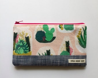 Pink Succulent Zipper Pouch, Makeup Bag, Project Bag, Supply Bag, Purse, Gifts for her under 20, Organize, Geometric