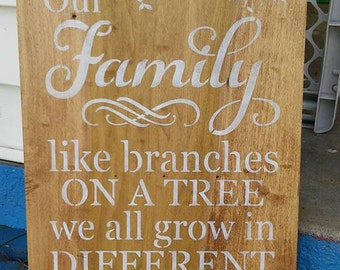 Our family like branches on a tree, stenciled wood sign, handpainted sign