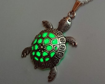 Green Glowing Tortoise Necklace - Summer Jewelry - Beach Jewelry - Sea Turtle Necklace - Turtle Pendant - Glowing Jewelry - Gifts for Her