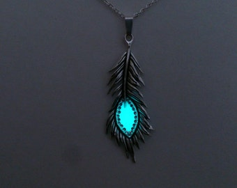 Peacock Feather Necklace / Aqua Glow in the Dark  Jewelry / Girlfriend Gift / Glowing Pendant / Silver tone / Mom Gift / Gifts for Her