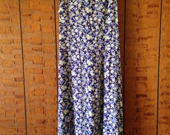 Vintage 90's Dark Blue Floral Sleeveless Dress with Back Tie by Erika Dresses