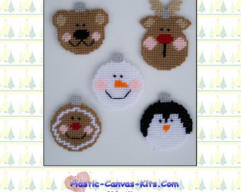 Christmas Character Bulb Ornaments-Snowman, Penguin, Reindeer-Plastic Canvas Pattern-PDF Download