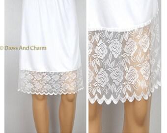 White Lace skirt extender, slip extender, Lace extender slip, dress extender, lace half slip
