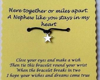Nephew gift, Nephew Wish Bracelet, Charm bracelet, Nephew Card, String Wish Bracelet, Cord Wish Bracelet, Quotes Jewelry, Nephew Jewelry