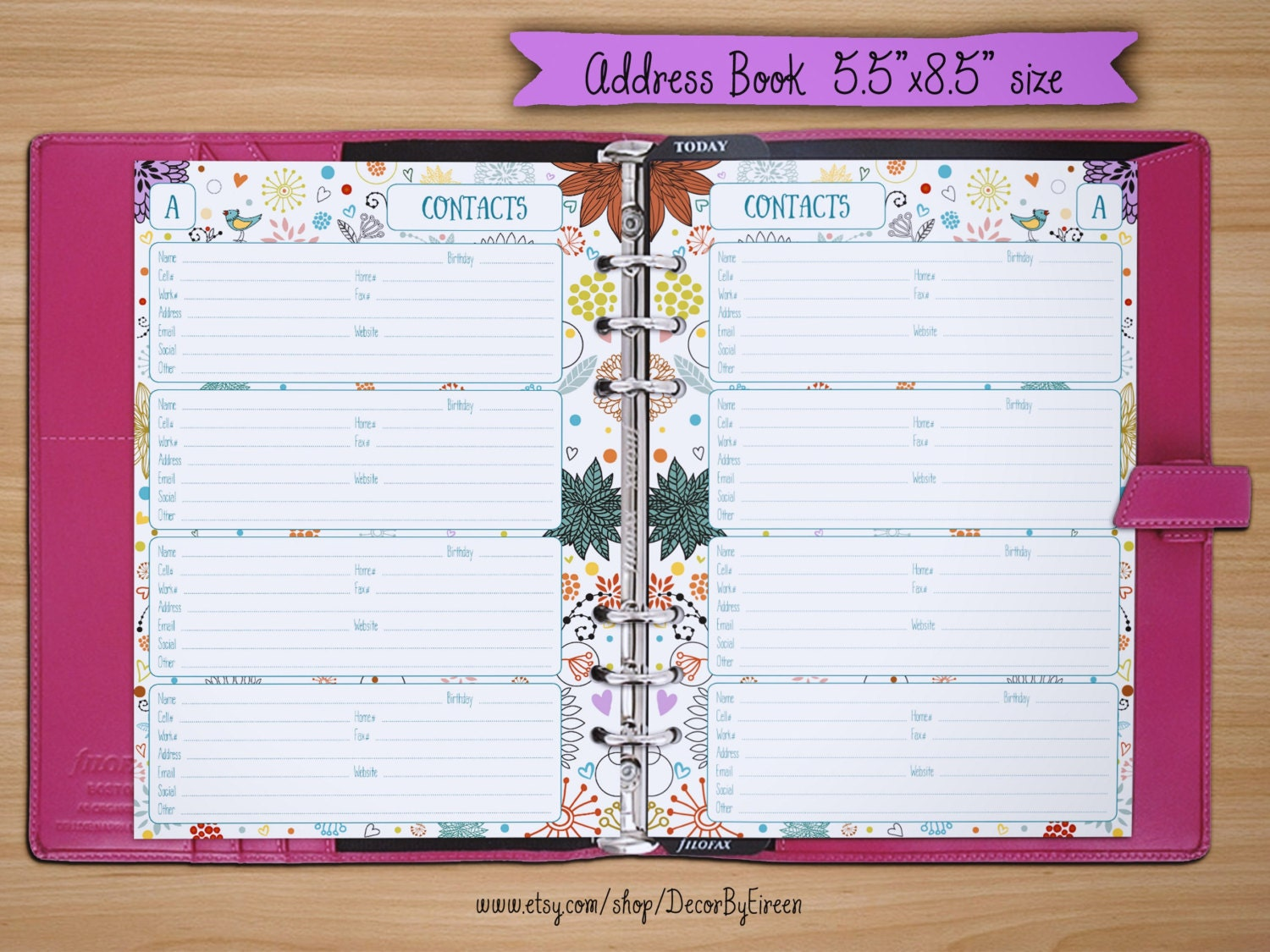 address book pages printable contact sheets 5 5x8 5 half