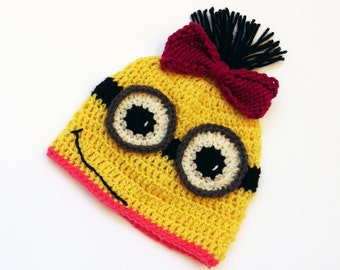 Minion Hat, Infant Halloween Costume, Baby Girl Hat, Infant Photo Prop, Minion Costume, Kids Winter, Kids Dress Up Newborn Halloween Costume