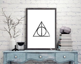 Deathly Hallows print, Harry Potter Deathly Hallows poster, Deathly Hallows prints wall Art, Harry Potter Fan Art 8x10 A3 A4 18x24 prints