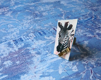 Zebra Ring made with recycled magazine paper