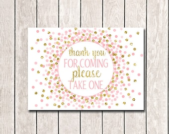 Thank You For Coming Please Take One Sign Party Decor Thank You Sign Birthday Sign Girl Birthday Pink Baby Shower Decorations 5x7 8x10