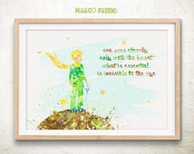 The Little Prince Quote Watercolor Art Print Poster - Home decor - Watercolor Painting - Wall Art - Kids Decor - Nursery Decor - 08