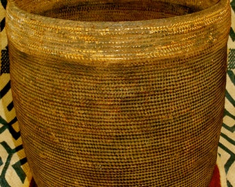 SALE#...Tutsi Tight Weave Very Lg. Fine Basket With Lid Rwanda African Antique