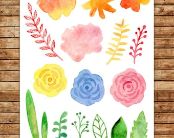 Watercolor floral set. Flowers and branches. Summer bright collection. Digital clipart.