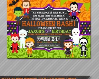 Halloween Birthday Invitation, Kids Halloween Party Invitation, Costume Party Invitation, Halloween Birthday Party Invitations