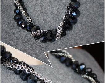 Chain and black pearls necklace-Black Pearl Necklace
