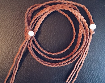 Tan Braided Long wrap necklace