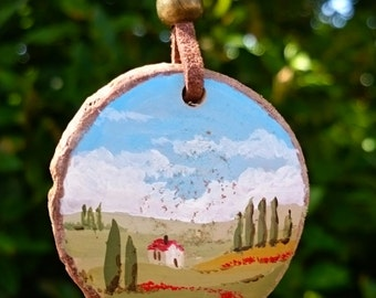 Handpainted wooden NECKLACE. LANDSCAPE. Handmade PENDANT.
