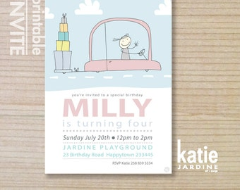 girls invitation - kids invitation  - printable invitation - presents - gifts