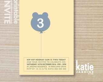 boys invitation - kids invitation  - printable invitation - bear balloon - yellow - aqua