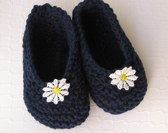 Hand Knit Cotton Baby Slippers/Booties/Socks - Navy Blue