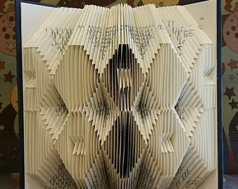 Folded book art, double hexagon design , recycled book sculpture