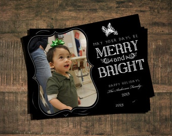 Merry and Bright Christmas Card - Printable Digital File (additional colors available)
