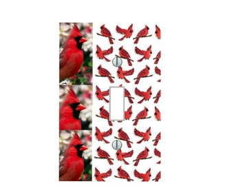 cardinal red bird wall art home decor nursery theme light switch plate cover country classic wall