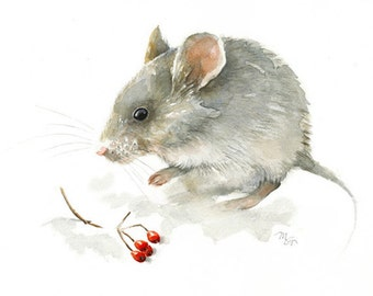 Winter Mouse - Giclee Print of watercolor painting. Art Print. Nature or Animal Illustration. Red and Grey