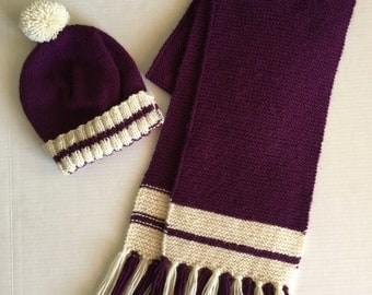 Hand Knitted Scarf and Hat, Purple and Aran Scarf and Hat Set, Womens Knitted Hat and Scarf, Purple and Aran Hat, Purple Knit Scarf