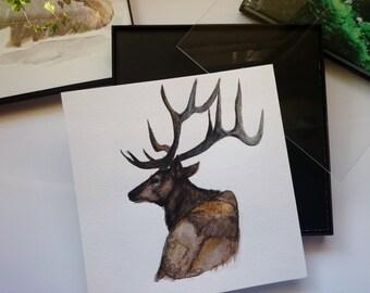 Original Watercolor painting, Nature and Deer, Original art, Framed wall decor