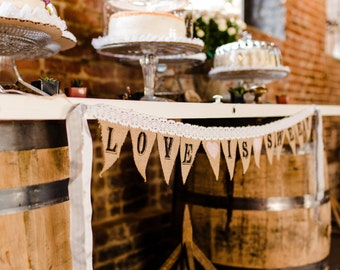 Vintage Lace and Burlap Custom Banner