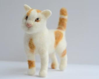 Needle Felted Calico Cat, Calico Cat Sculpture