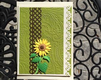 Sunflower Card, emboss card, Green Floral card, Birthday Card, Thank You Card, Friendship Card, Get Well Card, Miss You card, Cheer up card