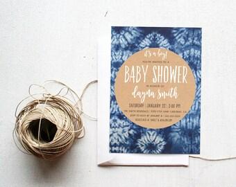 Boy Baby Shower Invitation, Indigo, Boho, Tie Dye, Printable Invitation (474)
