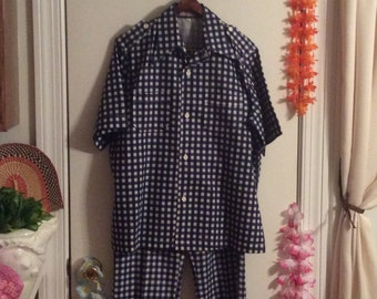 Vintage 1970s mens short sleeve cotton leisure suit gingham Kentucky derby day summer party cruise country club leisure outfit clothing suit