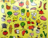 Japanese grocery store emoticon faces small kawaii stickers - fruits & vegetables - meats and eggs - breads and cheese - cute tiny tofu