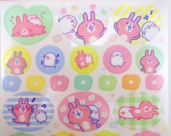 Japanese Kanahei stickers - Piske & Usagi - cute bunny stickers - kawaii chick stickers - plum blossom - emoticon stickers - planner sticker