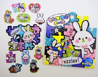 71 Japanese puzzle bunnies SCENTED shimmer sticker flakes - kawaii white bunny rabbits - jigsaw puzzle pieces - caption bubble - emoticons