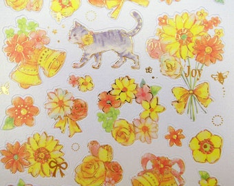 Gorgeous Japanese whimsical cats & yellow flowers paper stickers - kitty cat - sunflowers - daisies - rose garden - bouquets clusters bows