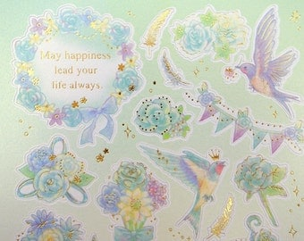 Gorgeous Japanese birds & flowers whimsical paper stickers -  swallows - gold feathers - banners bows and birdcages - roses daisies and mums