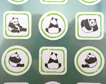 Lovely Japanese Panda bear chiyogami paper stickers - adorable sitting pandas - black & white - playing rolling -  traditional Japan yuzen