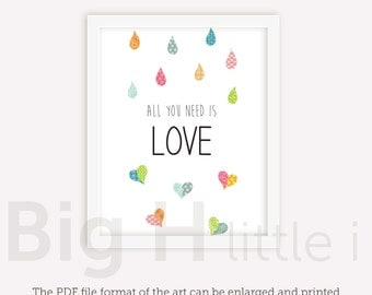 Love Quotes Wall Art / All You Need Is LOVE / Love Quote / Printable Poster / Typography / instant download