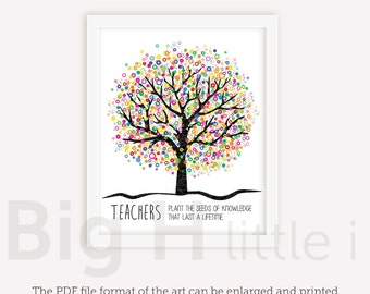 Teacher Appreciation Gift Print, Thank You Teacher Printable Gift, Teacher gifts end of year - Teachers Plant The Seeds of Knowledge