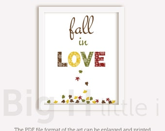 Fall Wall Art fall in love print | etsy