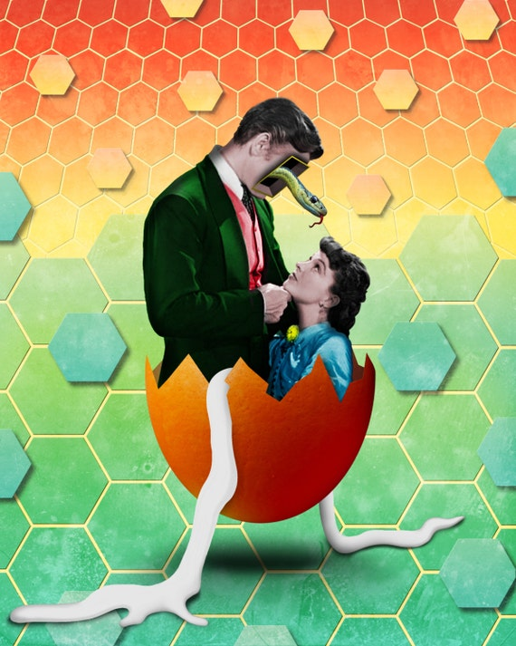 TEA028_Gone With the Egg: Pop Art, Vintage Hollywood, Shapes, Surreal, Metaphysical, Collage, Pineal Gland, Snake Geometry, Old Movie Poster